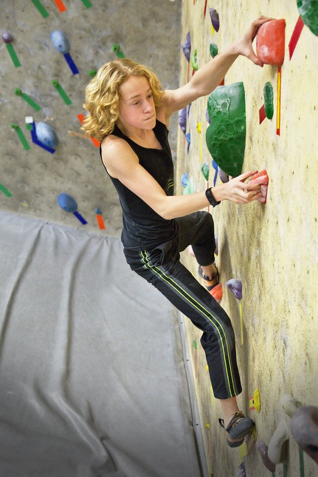 Youth climber on Team Ascension in Fairbanks, Alaska